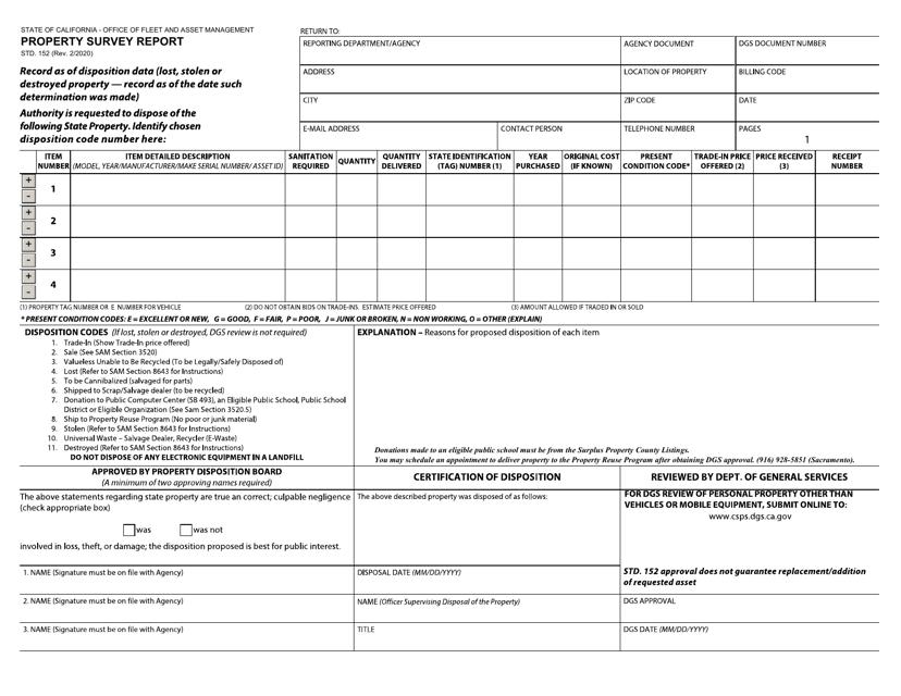 Form STD.152 Printable Pdf