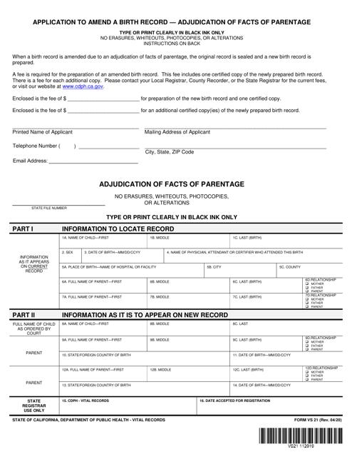 Form VS21 Printable Pdf
