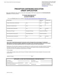"Form CDPH515 ""Preceptor Continuing Education Credit Application"" - California"