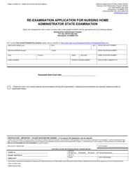 "Form CDPH520 ""Re-examination Application for Nursing Home Administrator State Examination"" - California"
