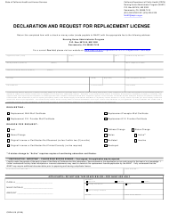 """Form CDPH510 """"Declaration and Request for Replacement License"""" - California"""