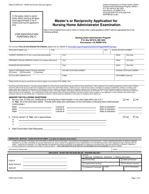Form CDPH524 Printable Pdf