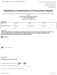 """Form CDPH507 """"Modification of Administrator-In-training Hours Request"""" - California"""