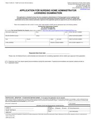 "Form CDPH503 ""Application for Nursing Home Administrator Licensing Examination"" - California"