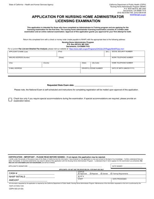 Form CDPH503  Printable Pdf