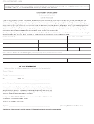 """Form CDTFA-146-CC """"Construction Contract Exemption Certificate and Statement of Delivery in Indian Country"""" - California, Page 2"""