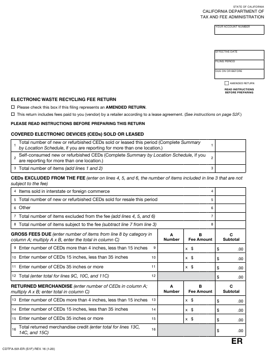 Form CDTFA-501-ER Download Fillable PDF or Fill Online Electronic Waste Recycling  Fee Return California | Templateroller