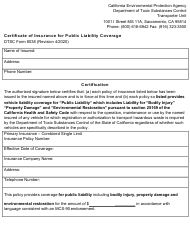 """DTSC Form 8038 """"Certificate of Insurance for Public Liability Coverage"""" - California"""