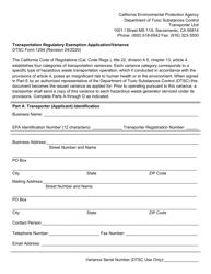"DTSC Form 1294 ""Transportation Regulatory Exemption Application/Variance"" - California"