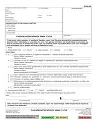 "Form ICWA-020 ""Parental Notification of Indian Status"" - California"