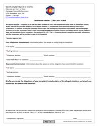 """""""Campaign Finance Complaint Form"""" - Colorado"""