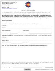 """Lobbyist Complaint Form"" - Colorado"