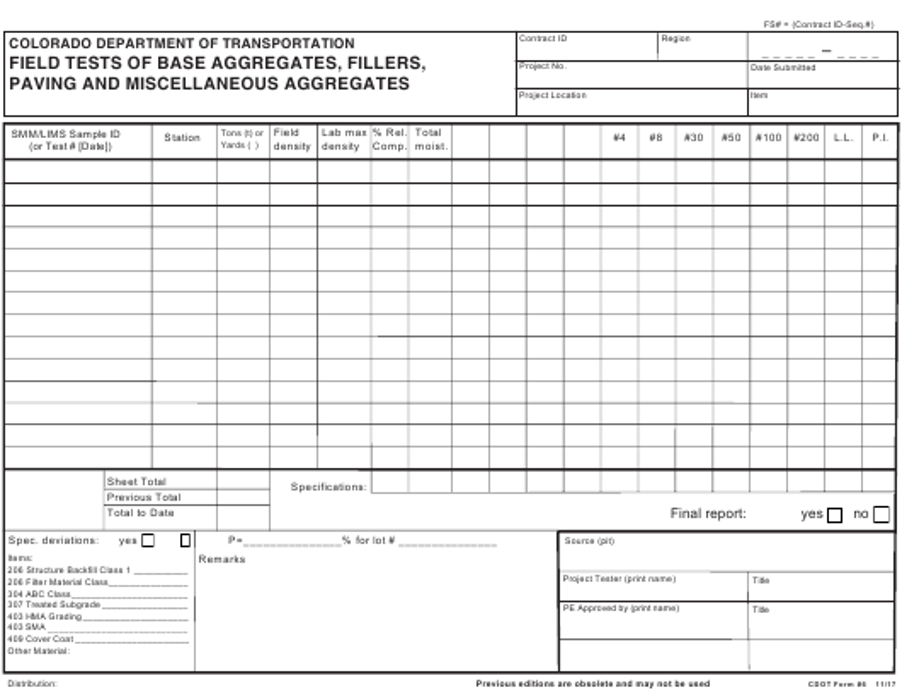 CDOT Form 6  Printable Pdf