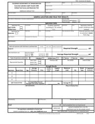 "CDOT Form 84 ""Concrete Cylinders Split Tensile C496, Drilled Test Cores and Shotcrete T24"" - Colorado"