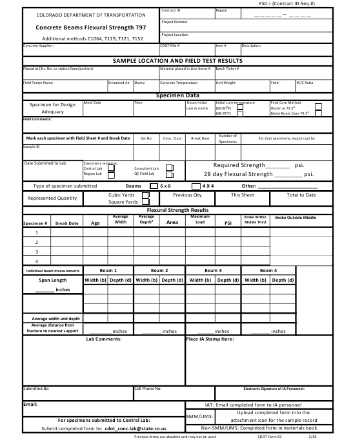 CDOT Form 83  Printable Pdf