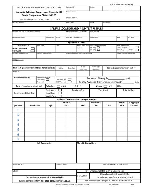 CDOT Form 82  Printable Pdf