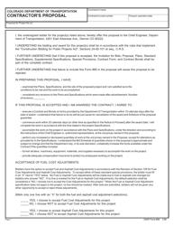 """CDOT Form 85 """"Contractor's Proposal"""" - Colorado"""