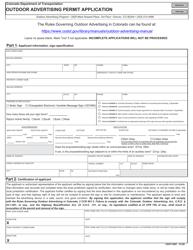 """CDOT Form 291 """"Outdoor Advertising Permit Application"""" - Colorado"""