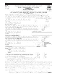 "Form ED712 ""Application for Military Spouse Teacher Permit"" - Connecticut"