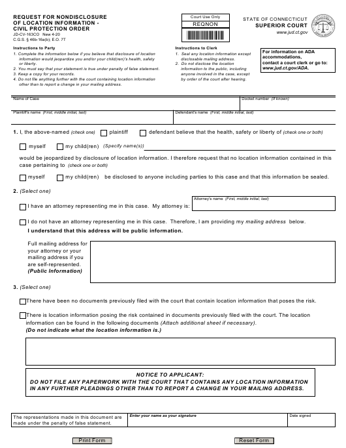Form JD-CV-163CO  Printable Pdf