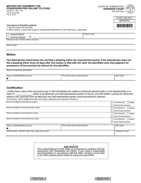 Form JD-HM-10 Printable Pdf