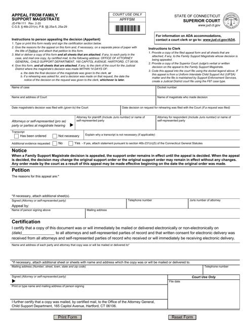 Form JD-FM-111 Printable Pdf