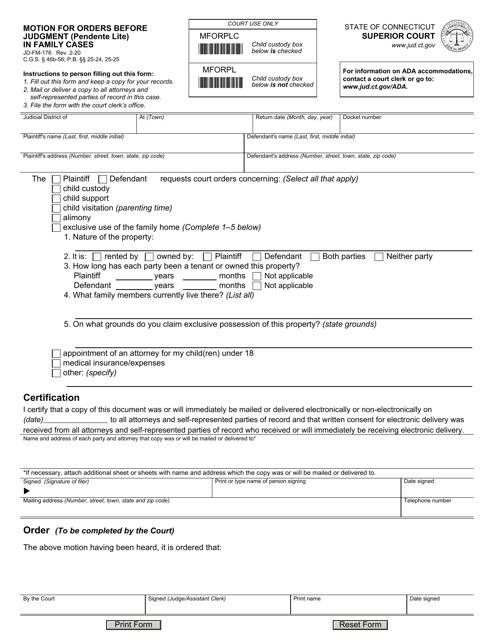 Form JD-FM-176  Printable Pdf