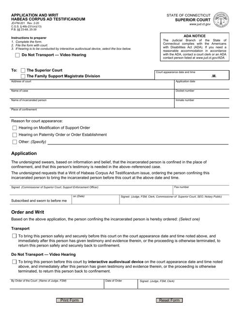 Form JD-FM-201 Printable Pdf