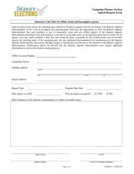 "Form CFFM043 ""Appeal Request Form"" - Delaware"