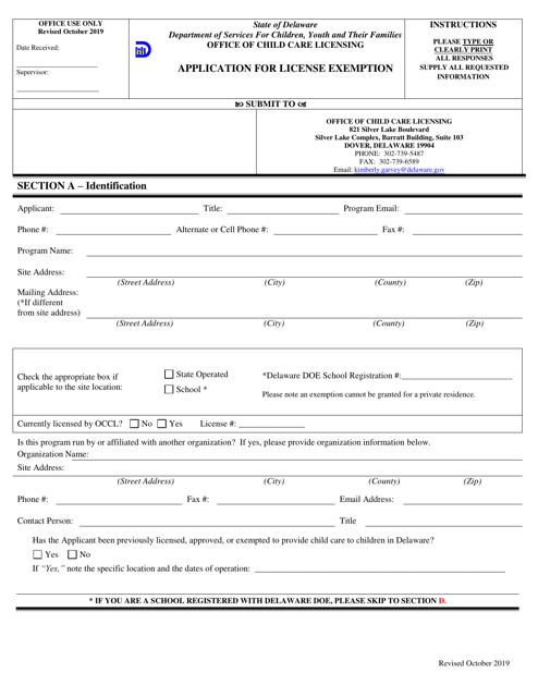 """Application for License Exemption"" - Delaware Download Pdf"