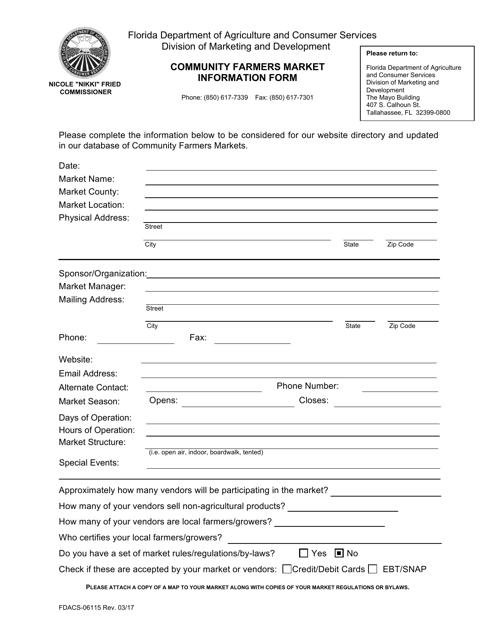 Form FDACS-06115  Printable Pdf