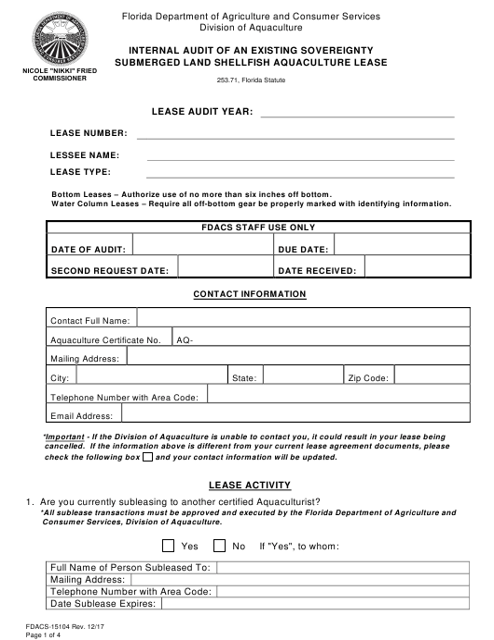 Form FDACS-15104  Printable Pdf