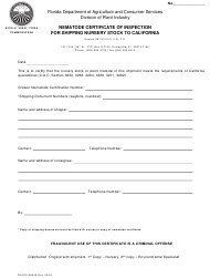 "Form FDACS-08049 ""Nematode Certificate of Inspection for Shipping Nursery Stock to California"" - Florida"