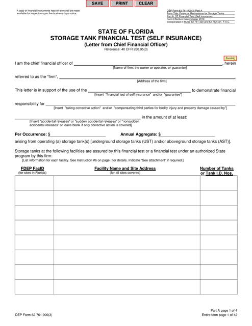 DEP Form 62-761.900(3) Part A  Printable Pdf
