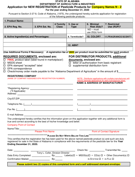 """Application for New Registration of Pesticide Products for Company Names N - Z"" - Alabama Download Pdf"