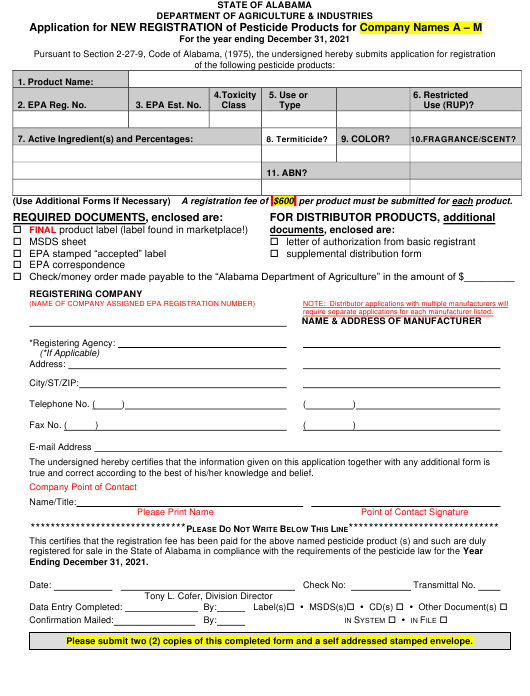 """""""Application for New Registration of Pesticide Products for Company Names a - M"""" - Alabama Download Pdf"""