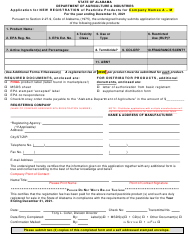 """""""Application for New Registration of Pesticide Products for Company Names a - M"""" - Alabama"""