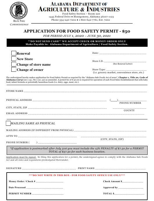 """""""Application for Food Safety Permit"""" - Alabama Download Pdf"""