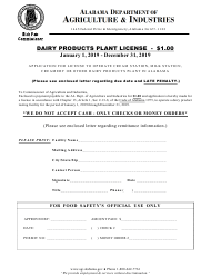 """Dairy Products Plant License"" - Alabama, 2019"