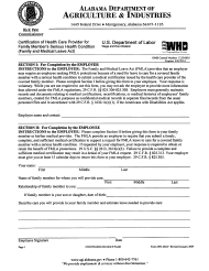 "Form WH-380-F ""Certification of Health Care Provider for Family Member's Serious Health Condition (Family and Medical Leave Act)"" - Alabama"
