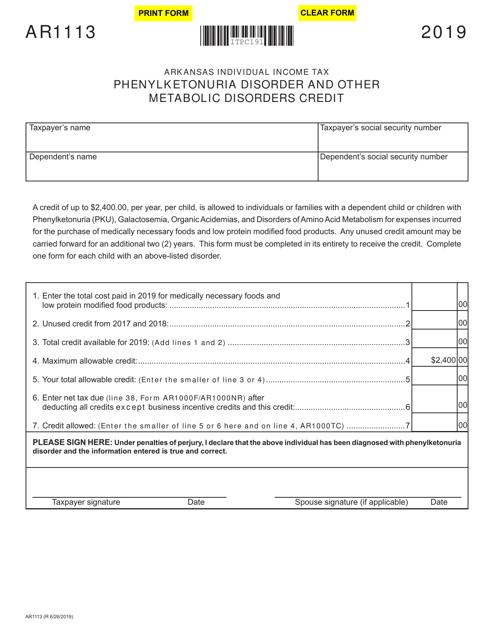 Form AR1113 2019 Printable Pdf