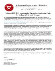 """Arkansas Immunization Exemption Application for College or University Students"" - Arkansas, 2021"