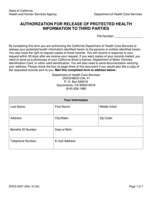 Form DHCS6247 Printable Pdf