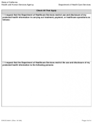 """Form DHCS6241 """"Request to Restrict Use and Disclosure of Protected Health Information by Parent, Guardian or Personal Representative"""" - California, Page 3"""