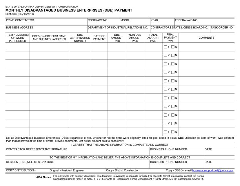 Form CEM-2406 Printable Pdf