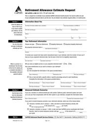 "Form PERS-BSD-470 ""Retirement Allowance Estimate Request"" - California"