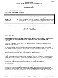 """Form DBPR AR1 """"Application for Licensure by Examination"""" - Florida"""
