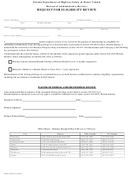 "Form HSMV72034 ""Request for Eligibility Review"" - Florida"