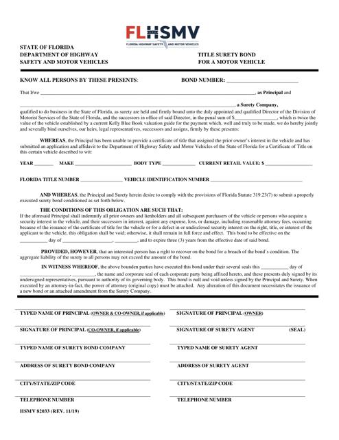 Form HSMV82033 Printable Pdf