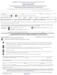 "Form HSMV83007 ""Application for a Disabled, Disabled Veteran or Motorcycle International Wheelchair Symbol License Plate"" - Florida"